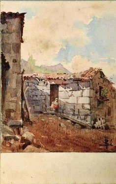João Alves de Sá (1878-1972) - Trecho rural - Aguarela