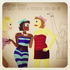 Chiptune Runner Girls - WIP #gamedev #indiegame #conceptart #chiptune #indie #game