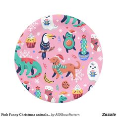 Shop Pink Funny Christmas animals festive pattern Paper Plate created by AllAboutPattern. Christmas Cartoons, Christmas Humor, Christmas Paper Plates, Christmas Animals, Happy Animals, Party Tableware, Paper Napkins, Pattern Paper, Biodegradable Products