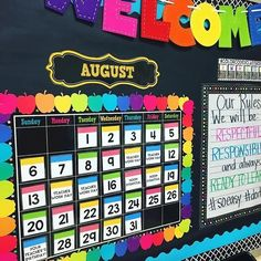 hat a cute & colorful calendar from @mrsrifsroom! I spy the Welcome sign from the Dollar Spot! Please follow me