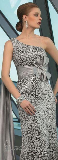 Sequined One-Shoulder Dress by Mori Lee VM #oneshoulder #silver #dress