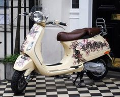 What do you think of the custom paint job on this Vespa LXV 150ie in Ivory color? Our paint & body specialist, Ted Smith, can accomplish your heart's desire on your scooter. Ted is now scheduling projects to complete during the winter season. If you're interested in having a custom paint job on your scooter contact Ted at 860-747-6682 or email service@VespaHartford.com