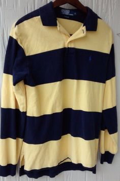 20 free shipping EUC Mens Polo Ralph Lauren Long Sleeve Shirt Size M  Medium Yellow Blue fcdf2094490af