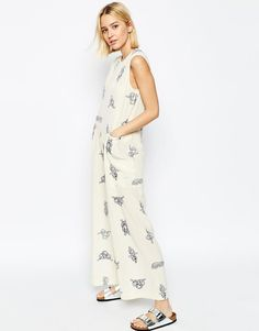 ASOS White | ASOS WHITE Silk Wide Leg Jumpsuit In Rope Print at ASOS
