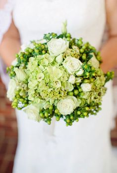 Green Bouquet With Hydrangeas, Berries, and Roses | Brides.com