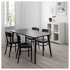 IKEA - LISABO / IDOLF Table and 4 chairs black, black