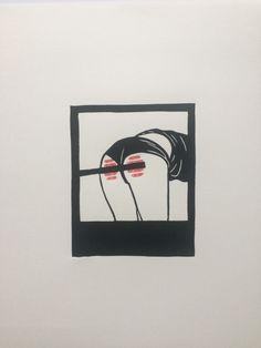 Bend Over - original linocut print