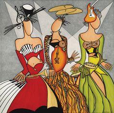 Les triplettes de Montréal Illustration Photo, Illustrations, Diane Dufresne, Montreal, Festival Jazz, Canadian Artists, African Art, Oeuvre D'art, Great Artists