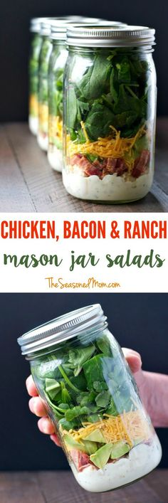 Layering ingredients in a jar is the most effective way to prepare a salad ahead of time and still keep everything fresh for days. Make these Chicken Bacon and Ranch Mason Jar Salads and you will have delicious and satisfying grab-and-go lunches ready and waiting for your busy week!