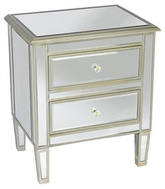 Remy Mirrored Nightstand, Silver