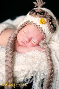 Crochet Hat: Sleeping Owl