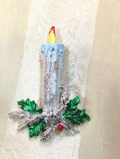 Vintage Holiday Candle Brooch Classic Mid by NorthCoastCottage, $29.00