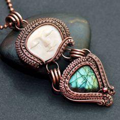 wire wrap pendant,copper pendant,copper jewelry,goddess pendant,wire wrap goddess,wire wrap labradorite,labradorite jewelry,bone face,handmade jewelry,wire weave,wire work