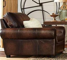 Turner Leather Roll Arm Armchair #potterybarn
