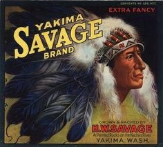 Yakima, Washington Savage Indian Apple Crate Label Art Print