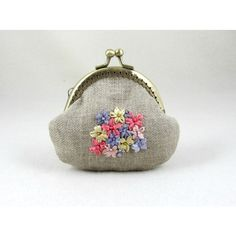 Embroidered purse, Linen coin purse, Hand embroidery, floral pouch,... (38 CAD) ❤ liked on Polyvore featuring bags