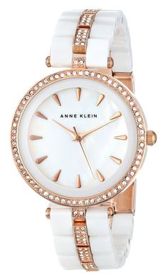 Anne Klein Women's AK/1444WTRG Swarovski Crystal-Accented Rose Gold-Tone and White Ceramic Bracelet Watch