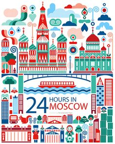 World City Illustration by Fernando Volken Togni dessin moscou moscow drawing City Poster, Chic Type, Web Design, Graphic Design, Flat Design, Travel Illustration, Building Illustration, Flat Illustration, Thinking Day