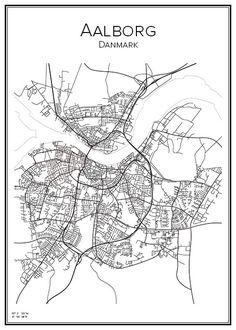 Handritad stadskarta över Aalborg i Danmark. Här kan du beställa stadskarta över din stad och andra svenska samt utländska städer.