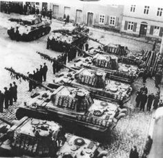 Panther tank formation in base, with crews assembled in front