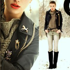 ♕  The Queen's Throne: Style Inspiration (Fall) acessorries, knee high black boots, red lips