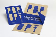 POP UP Exhibitions by Arjowiggins. Invitation Paris Screenprinting on Keaykolour 100% Recycled Camel & Curious Matter Adiron Blue.