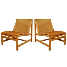 Pair of lounge chairs by Rud Thygesen & Johnny Sorensen for Botium ca.1970 | From a unique collection of antique and modern lounge chairs at http://www.1stdibs.com/furniture/seating/lounge-chairs/