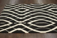 Rugs USA Radiante BC65 Black Rug | Contemporary Rugs Modern, home decor, interior design, style, decor, pattern, black and white, area rugs, house, home.