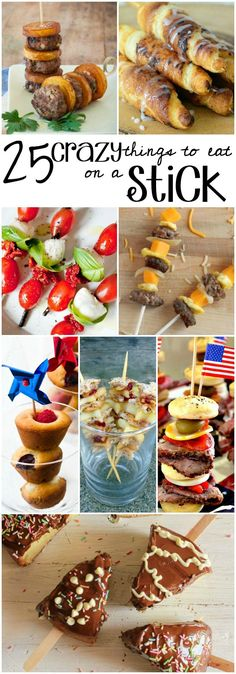 These are 25 seriously crazy things to eat on a stick. The kids will think this is just SO. Appetizers For Party, Appetizer Recipes, Snack Recipes, Dessert Recipes, Cooking Recipes, Snacks, Individual Appetizers, Yummy Recipes, Desserts