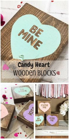 Candy Heart Wooden Blocks #Valentines #VDay #ValentinesDecor #Heart #Love #Ad #HomeDecor #Kiss #Farmhouse #Rustic #Cottage