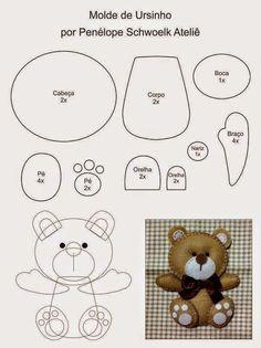 ARTE COM QUIANE - Paps,Moldes,E.V.A,Feltro,Costuras,Fofuchas 3D: Molde Ursinho para feltro - faça lembrancinhas de maternidade ou aniversário!
