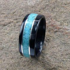 Bentwood Mens Ring Ebony with Turquoise, $120.00 Love this for Ryan!