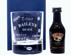Engraved BAILEYS CHRISTMAS Design Glass + Miniature