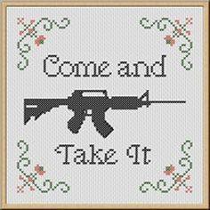 Cross Stitch Embroidery Come and Take It Cross Stitch Pattern PDF - Gun Rifle Firearm Embroidery - Beaded Cross Stitch, Simple Cross Stitch, Cross Stitch Embroidery, Cross Stitch Patterns, Plastic Canvas Crafts, Plastic Canvas Patterns, Learn Embroidery, Embroidery Patterns, Come And Take It