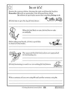 24 Best Writing Worksheets For 3rd, 4th, And 5th Grades Images Fourth Grade Worksheets 3rd Grade, 4th Grade Writing Worksheets Its Or It\u0027s? Language Arts