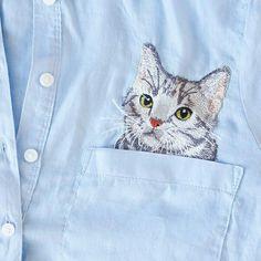 Рубашка с котиком в кармашке