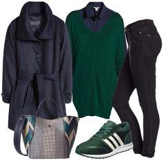Il+jeans+blu+scuro+molto+slim+è+abbinato+alla+camicia+stile+maschile+del+medesimo+colore+e+al+cappotto+sempre+blu+con+collo+ad+anello+e+coulisse+in+vita.+A+spezzare+il+monocolore+ci+pensano+il+maglione+verde+con+scollo+a+V+e+spacchi+sui+lati+e+le+sneakers+sempre+verdi+con+strisce+bianche+laterali.+Per+finire+la+borsa+rigida+da+portare+in+vari+modi,+a+spalla+o+a+mano+o+a+tracolla,+che+riprende+i+colori+del+look.