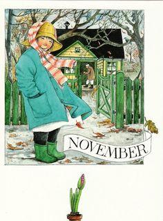 Novembre par Lena Anderson : http://www.linneaimalarenstradgard.se/ (fall season illustration)