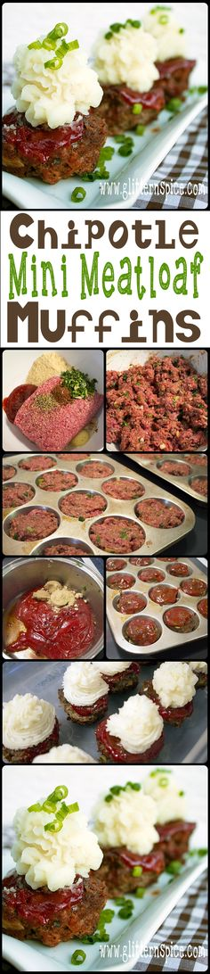 These Chipotle Mini Meatloaf Muffins are scrumptious! Every individual little meatloaf is smothered in a sweet hot chipotle glaze and are the perfect size for serving at family dinners, potlucks and parties. They taste amazing served with mashed potatoes, green salad and fresh bread. #beef | Glitter 'N' Spice