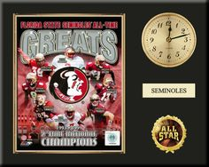 """One 8 x 10 inch Florida State University photo of Florida State  University Team Logo inserted in a gold slide-in frame and mounted on a 12 x 15 inch solid black finish plaque.  Also features a 3-inch Arabian gold-faced clock, a customizable nameplate* and a 2-inch """"ALL STAR"""" insert with a gold base.  $59.99 @ ArtandMore.com"""