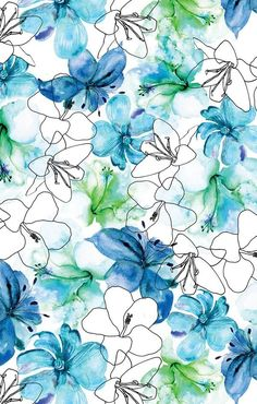 New wallpaper iphone pattern blue Ideas Pattern Floral, Motif Floral, Pattern Art, Floral Prints, Surface Pattern Design, Art Prints, Cute Wallpapers, Wallpaper Backgrounds, Iphone Wallpaper