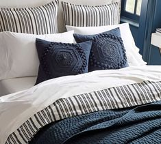 With its crisp, smooth finish, the Antique Stripe Duvet Cover & Shams is a versatile choice for your bedroom decor. The cool-to-the-touch bedding adds just the right layer. Taupe Bedroom, Bedding Master Bedroom, Dream Bedroom, Home Decor Bedroom, Master Bedrooms, Small Bedrooms, Navy Bedding, Blue Duvet, Neutral Bedding