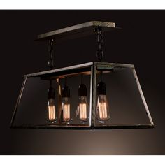 Warehouse of Tiffany Edison LD-4011 Island Light - Inspired by vintage industrial style, the Warehouse of Tiffany Edison LD-4011 Island Light provides beautiful ambient lighting with four exposed&#...