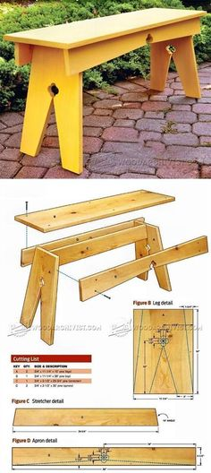Backyard Bench Plans - Outdoor Furniture Plans and Projects - Woodwork, Woodworking, Woodworking Plans, Woodworking Projects Diy Projects Plans, Easy Wood Projects, Easy Woodworking Projects, Outdoor Furniture Plans, Woodworking Furniture Plans, Wood Plans, Planer, Stools, Garden