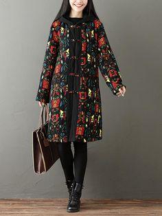 Gracila Folk Style Women Printed Patchwork Long Sleeve Hooded Thick Coat at Banggood