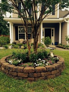 Front yard landscape project - good idea to add some pizzazz around our trees!  #LandscapingDIY