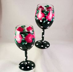 Hand Painted Wine Glasses, Pink and Black Polka Dot