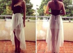 Fashion sexy V-neck short in front long strapless dress