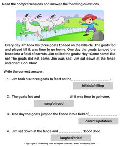 Reading Comprehension Jim and His Goats Worksheet First Grade Reading Comprehension, Picture Comprehension, 1st Grade Writing, Reading Comprehension Worksheets, Reading Passages, 2nd Grade Worksheets, Preschool Worksheets, Preschool Activities, English Creative Writing