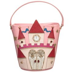 Girls pink leather castle bag by Dolce & Gabbana. In a bucket shape, this beautiful bag is fit for a princess, with its detailed fairytale castle design that has red leather turrets, gold leather stars, a gold embroidered clock face and doors, with gold filigree and sparkling gems. It has a magnetic snap fastening and a pink satin lining.